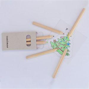 """Promotion du bois naturel recyclé 3,5""""6 pcs crayon de couleur dans la case de papier gris"""