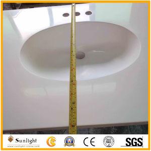 Künstlicher weißer Steinkultur-Marmor Vanitytop Countertop für Hotel