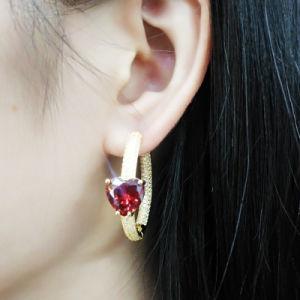 Mayorista de fábrica de plata o latón Bisutería Hoop Earrings de diferentes colores para las mujeres