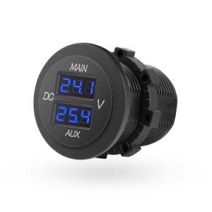 LED duplo Digital Voltímetro, Painel Redonda Monitor de tensão para captura de aluguer de veículo RV bateria dupla Pack