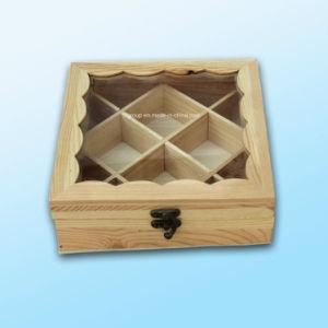 Personalizada compartimientos ecológicas de madera de pino claro de madera cajas de té de la ventana