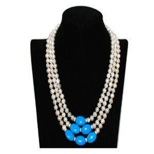 17-19 7/8mm Blanc Fashion perles & Blue Collier Turquoise elliptique