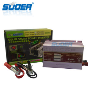 Suoer DC 24V AC 230V 500W Onda senoidal modificada inteligente Inversor de potencia (STA-500B)