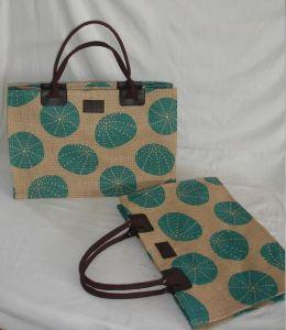 El yute natural bolsa de playa con la impresión