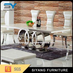 Tabla de mármol, muebles de hogar juego de comedor 8 Plazas la mesa de comedor