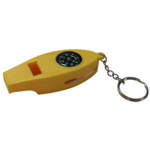 温度計および拡大鏡およびキーホルダーが付いている笛コンパス
