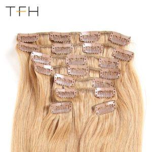 Top Fashion Cabelo liso Malaysian máquina feita Remy cor de cabelo #27 Cabeça completa 8 computadores Clip em extensões de cabelo humano