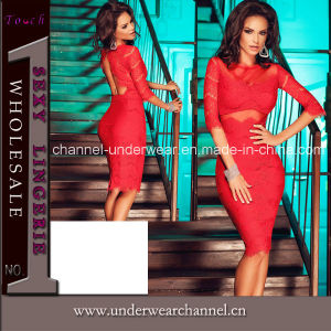 Sexy Fashion femmes Rouge Retour dentelle robe de fête (T60707)