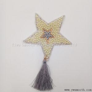 La stella Cinque-Aguzza di modo borda il ferro del Rhinestone del ricamo sugli accessori della zona