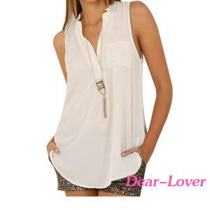 215de5b2ccb05 Botón de la moda camiseta sin mangas de gasa Blusa cuello en V ...