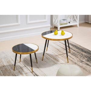 Oro Rosa Mármol de la moda de acero inoxidable cromado mesa de café