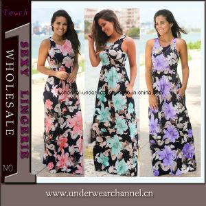 La impresión de flores de primavera de 2018 elegante dama vestido largo para la venta (TLL5056)