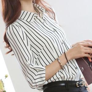 백색과 까만 형식 여자 줄무늬 셔츠