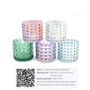 Elegante de vidro votiva suporte para velas com iridiscente terminar