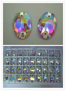 Parel van de Steen van de Kleding van het kristal de Ovale met de Kleur van Ab (3063)