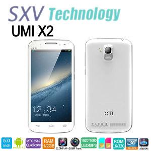 5 Zoll Umi X2 Mtk6589 2GB RAM Handys verdoppeln Doppeldie kamera des SIM Viererkabel-Kern-1.5GHz 1920X1080, die in GPS Bluetooth 4.0 WiFi errichtet wird