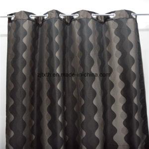 2018 Marché de gros de haute qualité ondulé gris et noir polyester Tissu Rideau Salle de chiffon
