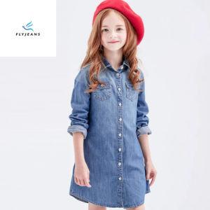 方法簡単で細い女の子のはえのジーンズによる長い袖のデニムのワイシャツ