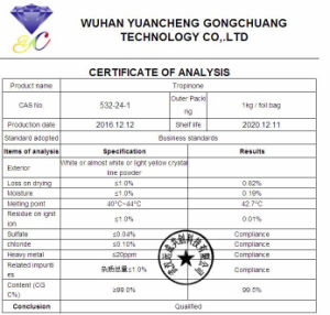 Fabriek 99% het Poeder CAS 532-24-1 van Tropinone van de Zuiverheid