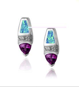 925 orecchini dell'argento sterlina con l'opale (LOP1090)