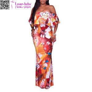 Rayón de moda de playa mujeres sexy vestido largo largo L51405