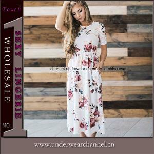 Diseño de bolsillo Sol de Verano Maxi Floral vestimenta casual (Tony0390)
