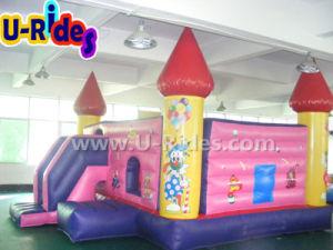 Venta caliente princesa castillo inflable cama saltando de la casa inflable con tobogán, incluso de coches