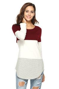 여자의 대조 색깔 주문 기본적인 긴 소매 t-셔츠