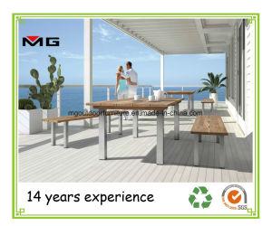 ステンレス鋼の足を搭載する庭のベンチのチークの木製の屋外の家具