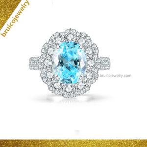1ba8abd3d1ff Aguamarina Oval Anillo de la joyería de lujo 9K 14K Oro Blanco 18K Joyería  anillo con