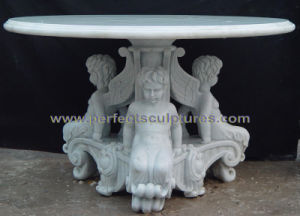 Antiqueの庭Furniture (QTB049)のための花こう岩Stone Marble Table