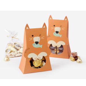 Lindo Gato Conejo cabrito Caja de caramelos de papel de los animales Chicos Chicas Fiesta de cumpleaños Decoración para Baby Shower de regalo papel de la bolsa de galletas de chocolate