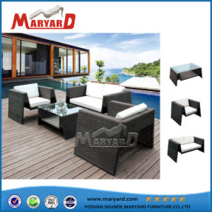Alta calidad de muebles de mimbre Rattan Sofá para jardín con armazón de aluminio