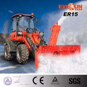 Lader van het Wiel van de Voorwaarde van Everun de Gloednieuwe Er15 Mini met de Ploeg van de Sneeuw voor de Verwijdering van de Sneeuw