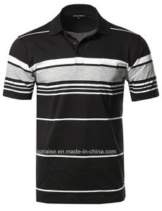높은 Pocket를 가진 Quality Cotton OEM Stripe Men Polo Shirt