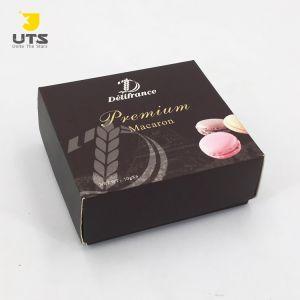 Personalizar pequeño cuadrado de color marrón Caja de regalo para el Chocolate/Caramelos/Macaron con patron Imprimir