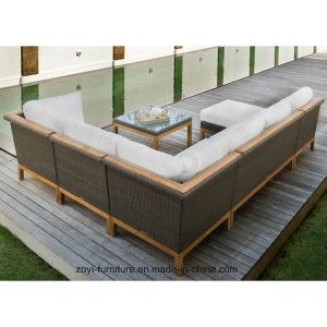 Mobiliário de Jardim Definir Conjunto de móveis de vime Pátio Exterior Mobiliário Transversal