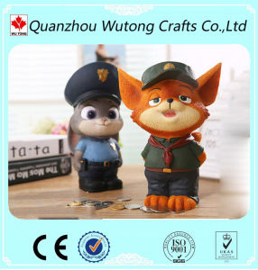 A resina Kids Dons Aciton Figura Polícia Design Cat Coin Bank