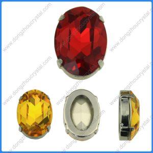 juwelen Bijkomende Dz3002 van de Kristallen van het Glas van de Steen van 10*14mm de Lichte Siam Ovale Buitensporige Achter Mini