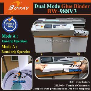 450枚の本の/Hour 440mmの長さA3 A4のサイズ600ペーパーシートの熱い溶解の接着剤の熱結合機械