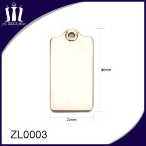 Color oro de alta calidad etiqueta de metal para bolsa