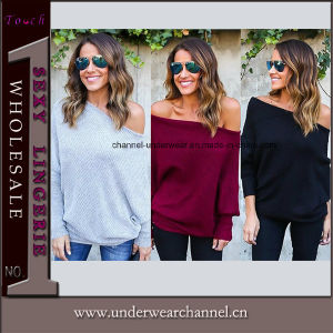 Mesdames Casual T Shirt à manches longues Tops pull chemisier (TMG7215)