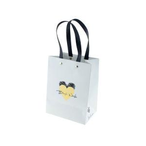 편평한 손잡이 백색 쇼핑 선물 종이 봉지를 각인하는 주문을 받아서 만들어진 금 로고
