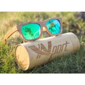 Bambú de madera los hombres y mujeres con lentes de gafas de sol polarizados UV 400