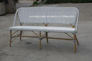 喫茶店の家具の屋外のハンドメイドのフランスのAlumininumの藤のビストロのベンチ
