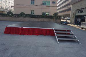 屋外のイベントのための赤い段階のスカートが付いているアルミニウム携帯用段階