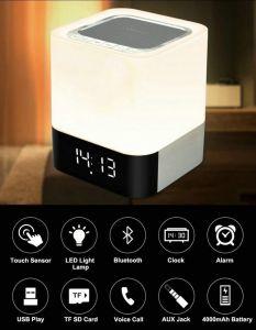Portable 4 in 1 altoparlante senza fili di Bluetooth con la chiamata Hands-Free aus. del giocatore MP3 della scheda di TF della sveglia dell'indicatore luminoso della lampada del sensore LED di tocco