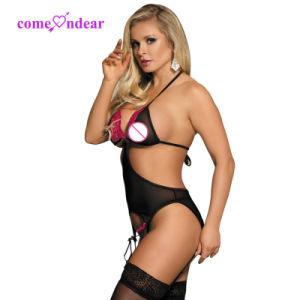 Cliquent sur la lingerie rose brodée avec Garter bonneterie nuisette sexy