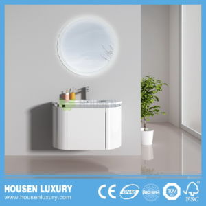 2018 INTERRUPTOR TÁCTIL LED caliente PVC espejo redondo High-Gloss Arco pintar muebles de baño HS-O1104-900