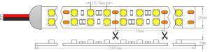 UL 28.8W 24V CRI90 IP20 5050二重線LEDライトストリップ
